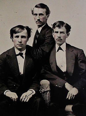 Antique Tintype Photo Portrait Of 3 Handsome Dapper Serious Looking Young Men