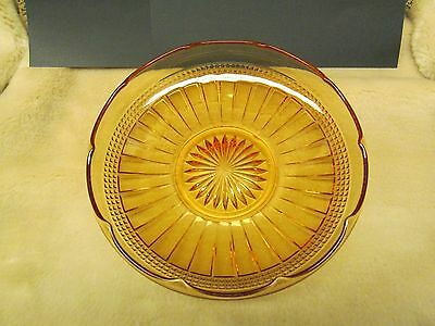 """Depression Glass Amber Vintage Yellow Bowl 7.5"""" Collectible Rounded Edge Dish"""