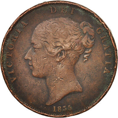 [#505843] Great Britain, Victoria, Penny, 1855, VF(20-25), Copper, KM:739