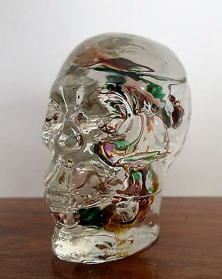 Superrb Alum Bay Glass Isle Of Wight Skull Paperweight