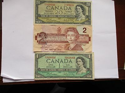 Canada Banknotes X3 $20 From 1954 $2 From 1986 $1 From 1954