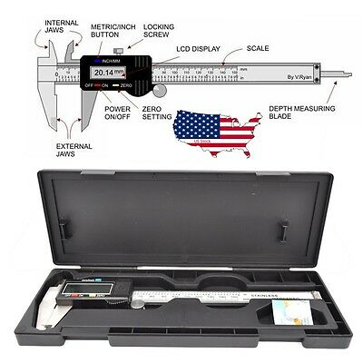 "LCD Stainless Steel Electronic Digital Vernier Caliper Micrometer Guage 6"" 150mm"