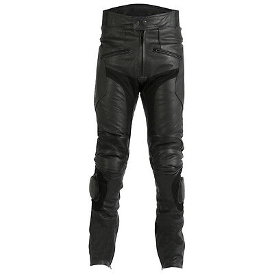 30 Waist / Short Black Leather Motorcycle Biker Trousers Jeans Sliders CE Armour