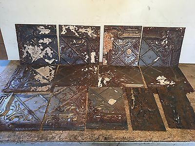 "Lot of 13 pc 12"" x var"" Antique Ceiling Tin Tile Vintage Reclaimed Salvage Art"