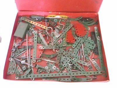 MECCANO selection of pieces, box and catalogue