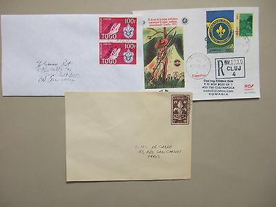 Three Scouting covers:Romania registered PS,Togo pair stamps,France