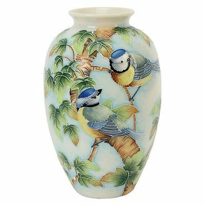 "Old Tupton Ware British Birds Blue Tits Vase 8"" tall  TW7952"