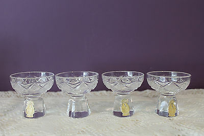 SET OF 4 GERMANY IMPERLUX CRYSTAL OPEN SALT DISHES W/LABEL c1900's