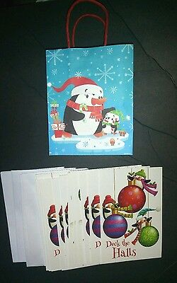 New Lot of 30 Christmas Greeting Cards & Envelopes Penguins Theme + Matching Bag