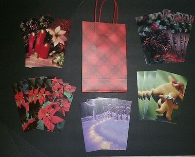 New Lot of 30 Assorted Christmas Greeting Cards & Envelopes Gift Bag