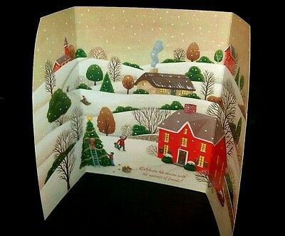 New Lot of 36 Glitter Trifold Christmas Seasons Greeting Cards Winter Town Scene