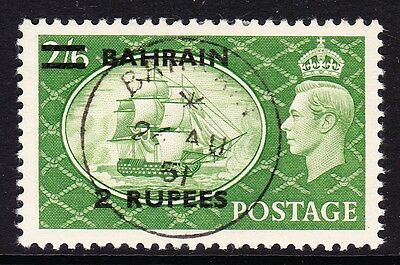 BAHRAIN 1950-55 2r ON 2/6d YELLOW-GREEN SG 77 FINE USED.