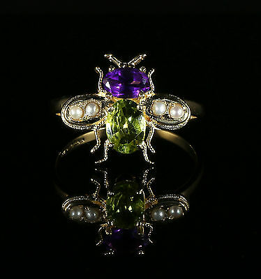 Suffragette Bee Ring 18Ct Gold And Silver Peridot Amethyst Pearl
