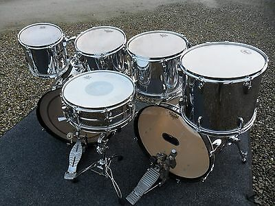 Pearl 7 drum kit in chrome - double bass drums