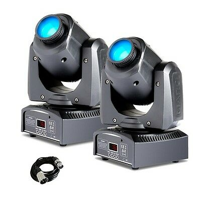 2 x Marq Gesture Spot 100 LED DJ Disco Stage Moving Head Gobo Spotlight & Cable