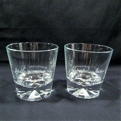 2 Johnnie Walker Black Label Scotch Diamond Prism Base Rocks Lowball Glasses