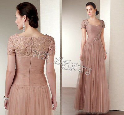 New Modest long women formal evening prom gowns mother of the bride dresses Size