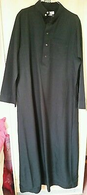 mens tailored Thobe jubba/Muslim Jabba men size 60xl black thick winter