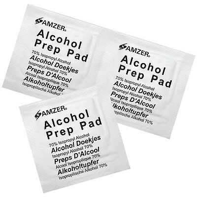 100x Amzer Handy Disposable Alcohol Prep Pads Quality Wipes Swabs 70% Isopropyl