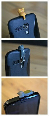 3 for £3.98 Cute Cat Phone Charm For Mobile Phone Tablet Dust Plug Phone case