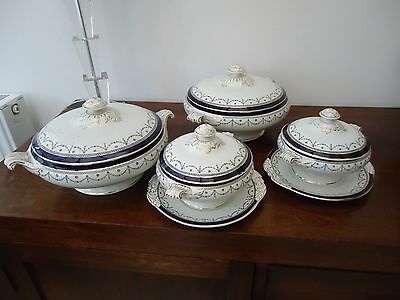 Set of four blue and white matching tureens