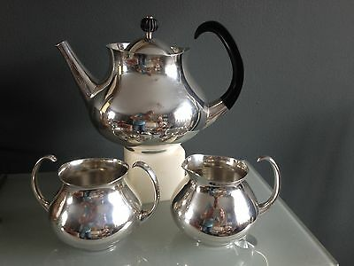 Mappin And Webb Eric Clements Iconic Modernist Silver Plate 3 Piece Tea Set