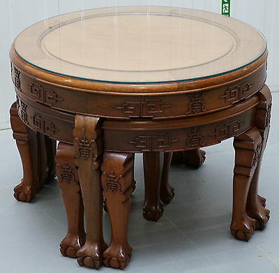 Rare 1954 With Original Receipt Document Solid Rosewood Chinese Nest Of Tables