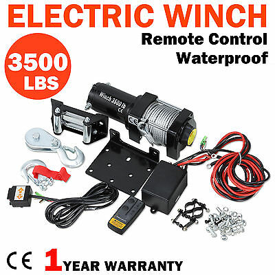 3500lbs Electric Recovery Winch Rope ATV Boat Trailer Truck 12V Remote Control