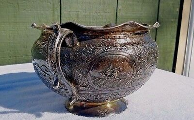 Antique Repoussé Silver Bowl Story of 16th Century Spanish Silver Trade 1700's