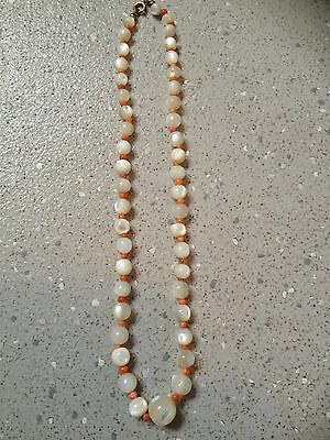 Vintage/Antique Coral And Mother Of Pearl Necklace.