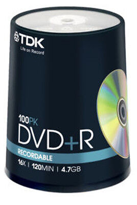 100 Spindle TDK DVD+R 4.7GB 120Min Blank DVDR Recordable Disc Discs DVDS Data