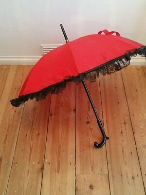 *VINTAGE LADIES red& black lace parasol by Chantal Thomas goth cosplay burlesque
