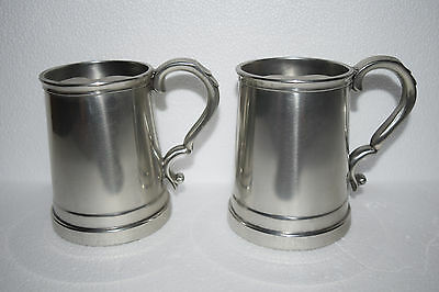 2 Vintage Sheffield England Pewter Glass Bottom Mugs - Made for Lord & Taylor