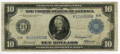 $10 Dollar 1914 Federal Reserve Dallas Texas Large Size Note Fine VF AA0357