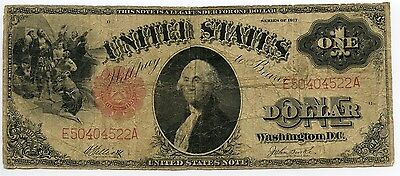 $1 1917 Legal Tender US Large Size Note Elliot Burke VG to Fine AA0348