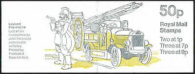 GB QEII 50p Booklet FB8A, April 1979 (Leyland Fire Engine)