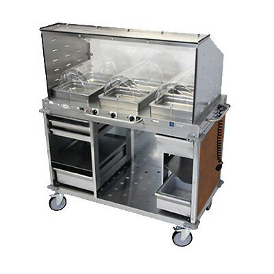 """Cadco CBC-HHH-SG-L1-4 Electric MobileServ Hot Food Buffet Cart- 4""""D Steam Pans"""