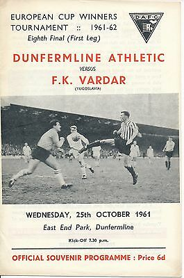 DUNFERMLINE v Vardar (Cup Winners Cup) 1961/2