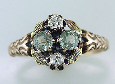 Vintage Antique .60ct Green Sapphire & Diamond 14K Gold Victorian Cocktail Ring
