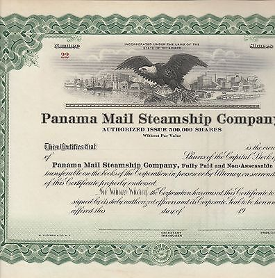 Panama Mail Steamship Company, Stock Certificate, Unissued Certificate