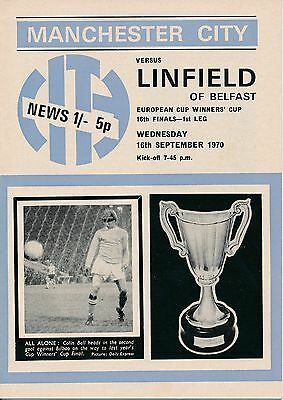 MAN CITY v Linfield (Cup Winners Cup) 1970/1