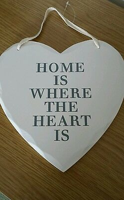 Shabby Chic Distressed Style Wooden Heart Hanging Wall Plaque