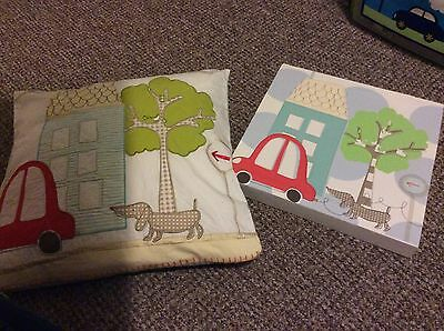 John Lewis Little Home Boys Bedroom Cushion Canvas Picture Car House Tree Dog