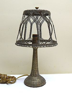 Great Antique Mission Art & Craft Weaved Brass Woven Lamp