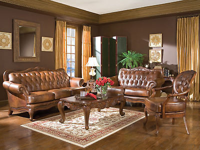 CLARET - Traditional Genuine Tufted Leather Sofa Couch Loveseat Set Living Room