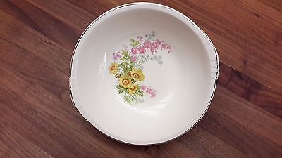 """Vintage Paden City Pottery 9"""" Serving Bowl Yellow Blue Pink Flowers"""