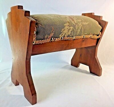 Vintage Antique Prayer Kneeling Stool Bench Upholstered Wood 1939