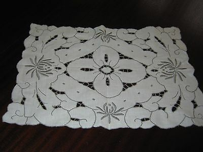 """Cutwork and embroidered Linen Tray cloth - 18"""" x 12.5"""