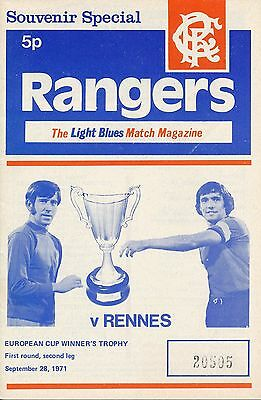 RANGERS v Rennes France (Cup Winners Cup) 1971/2