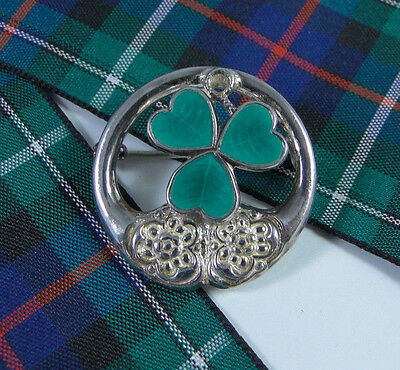 Vintage Silver & Enamel- SHAMROCK Brooch by W.B.s - SUPER FOR ST.PATRICK'S DAY